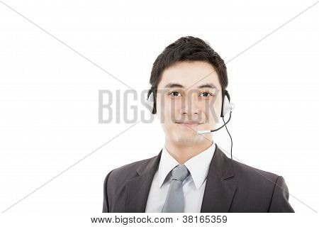 Handsome Businessman Wearing Headset And Smiling Isolated On White