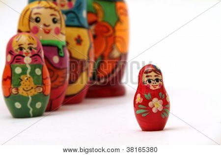 Matryoshka Dolls Isolated On White Background