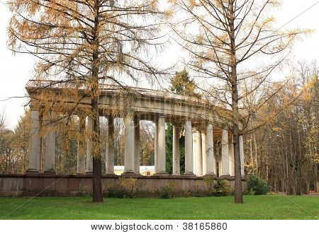 Old-time Colonnade Among The Autumn Trees