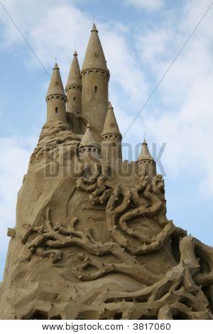 Sandsculpture Castle Sleeping Beauty
