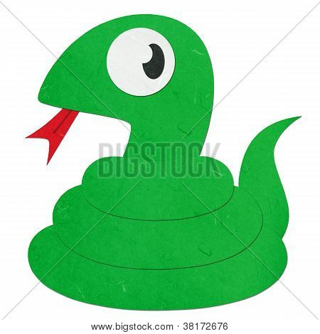 Rice Paper Cut Cute Cartoon Green Snake