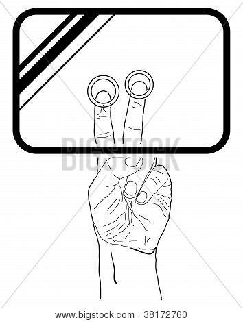Vector web icon. Hand touchscreen interface