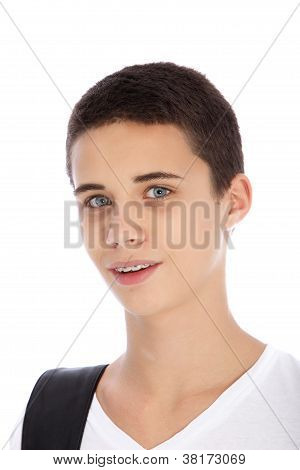 Portrait Of Teenage Boy On White Background