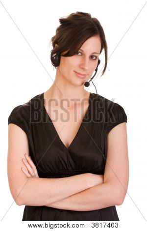 Young Caucasian Female Adult With Headset