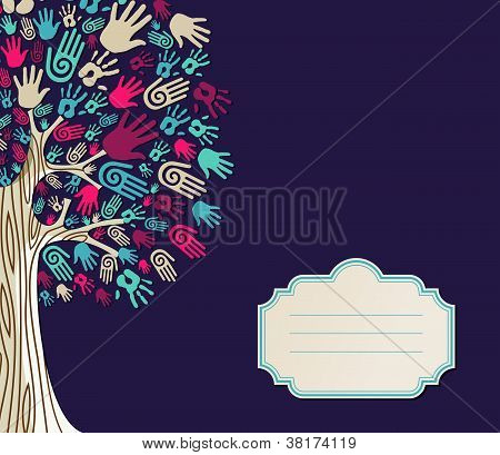 Diversity Tree Hands Greeting Card