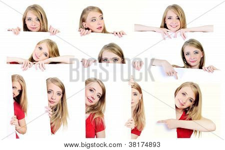 Set of photographs with a woman behind white paper