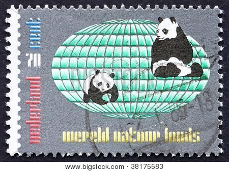 Postage stamp Netherlands 1984 Two Pandas and Globe