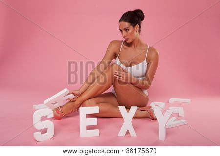 Beautiful Woman With The Word Sexy