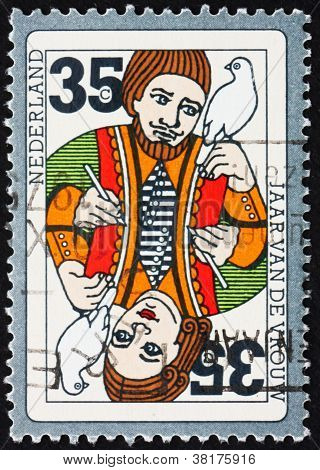 Postage stamp Netherlands 1975 Playing Card