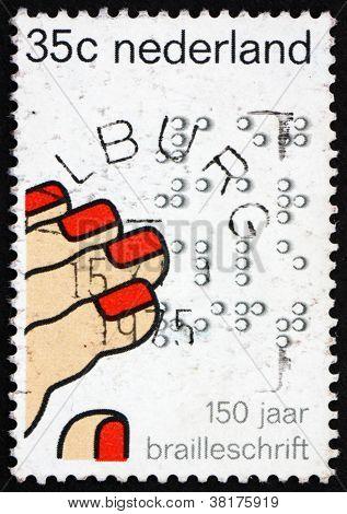 Postage stamp Netherlands 1975 Fingers Reading Braille
