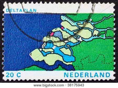 Postage stamp Netherlands 1972 Map of Delta, Delta Plan