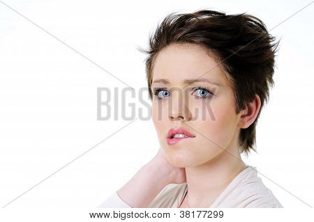 Woman thinking and biting her lips