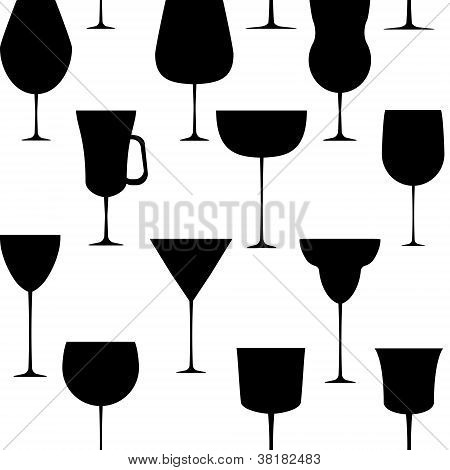 Alcoholic glass seamless pattern. Vector illustration. EPS 10.