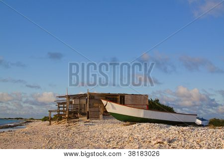 Boat by shack