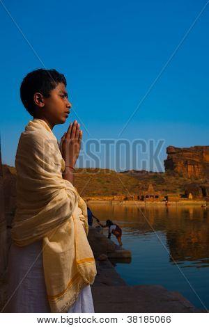 Brahmin Boy Priest Leading Puja Badami Temple