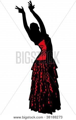 Sketch Of A Girl In Dance Pose Flamenco