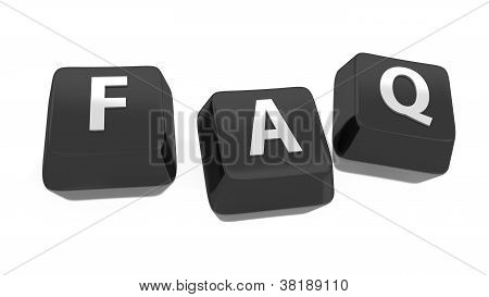 Faq Written In White On Black Computer Keys. Frequently Asked Questions. 3D Illustration. Isolated B