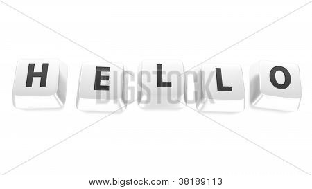 Hello Written In Black On White Computer Keys. 3D Illustration. Isolated Background.