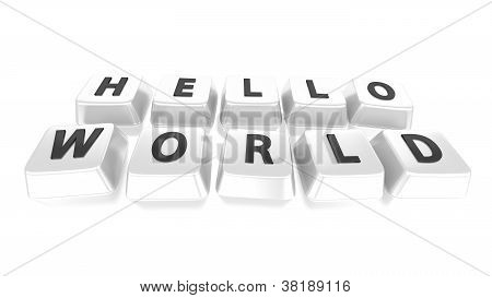 Hello World Written In Black On White Computer Keys. 3D Illustration. Isolated Background.