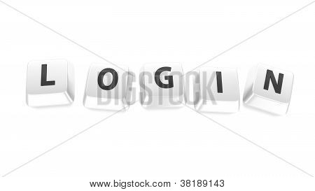 Login Written In Black On White Computer Keys. 3D Illustration. Isolated Background.