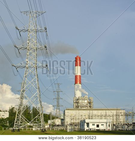 Fuel Oil Power Plant With Power Line Distributor