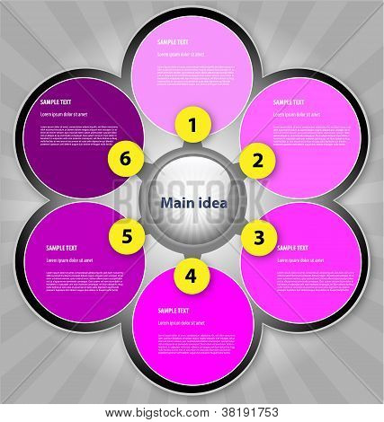 Presentation template with six text boxes