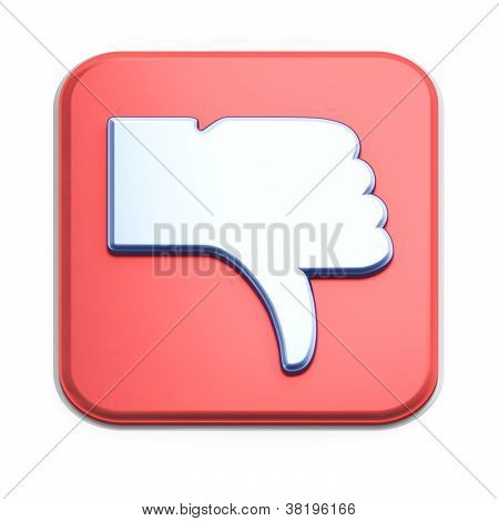 """Dislike"" button 3d  render on white"