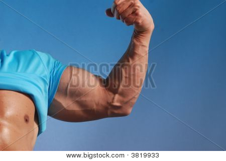 Flexing bicep