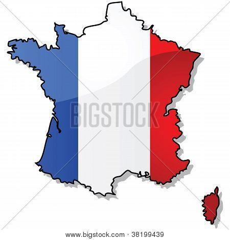 Mapa de Francia con bandera