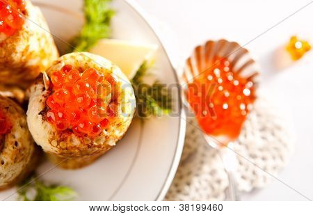 Snack With Salmon Caviar And Pancakes