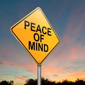 foto of stress relief  - Illustration depicting a roadsign with a peace of mind concept - JPG