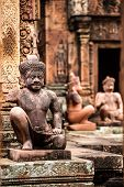 Yaksha Guardian at Banteay Srei temple in Cambodia