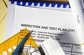 stock photo of manila paper  - Inspection and Test plan abstract - JPG