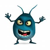 pic of germs  - 3 d cartoon cute blue germ toy - JPG