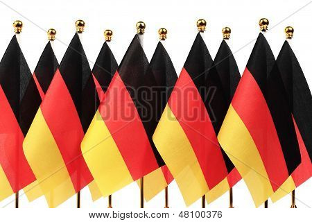 Germany Flags Hanging On The Gold Flagstaff,