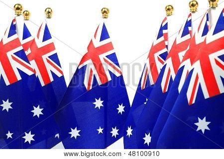 Flags Of Australia Hanging On The Gold Flagstaff