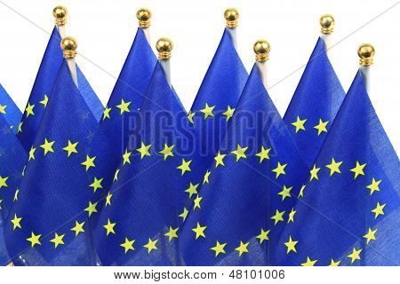 Eu Flags Hanging In The Queue Of Flagpole
