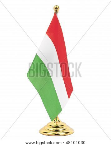 Hungary Flag Hanging On The Gold Flagstaff