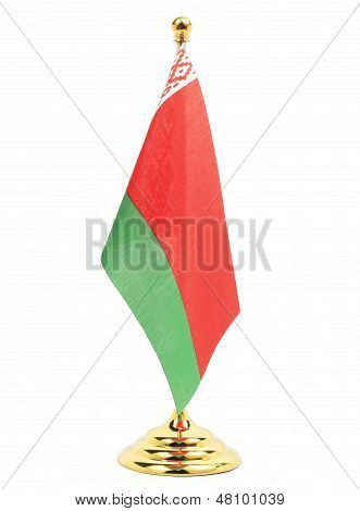 Belarus National Flag Hanging On The Gold Flagstaff