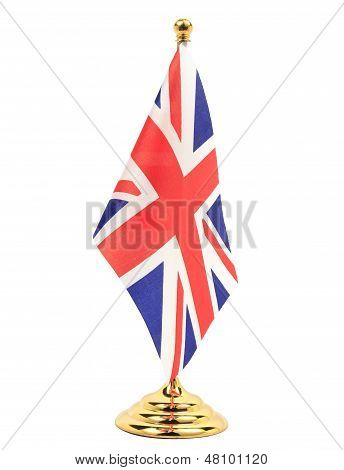 Uk Flag Hanging On The Golden Flagstaff
