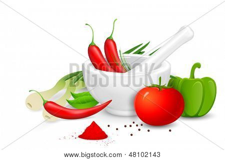 illustration of mortar and pestle with spices and vegetables