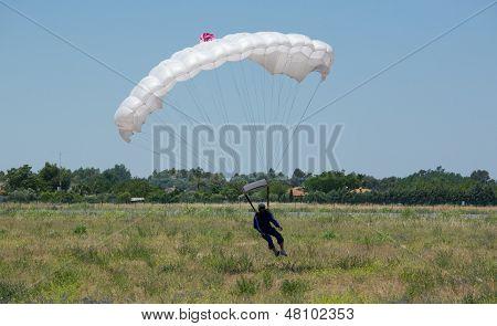 White Parachute Landing