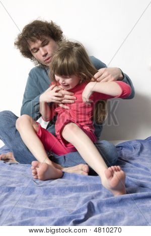 Futher Try To Quiet  Naughty Crying Daughter