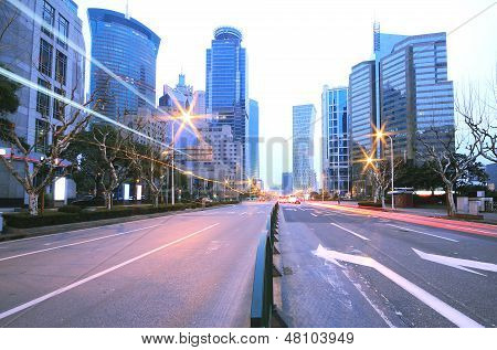 Megacity Highway At Night Dusk Light Trails In Shanghai
