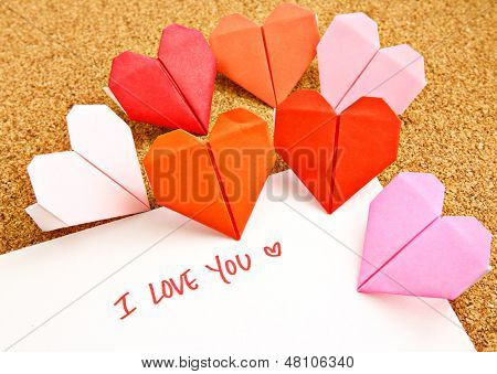 Origami paper hearts with message
