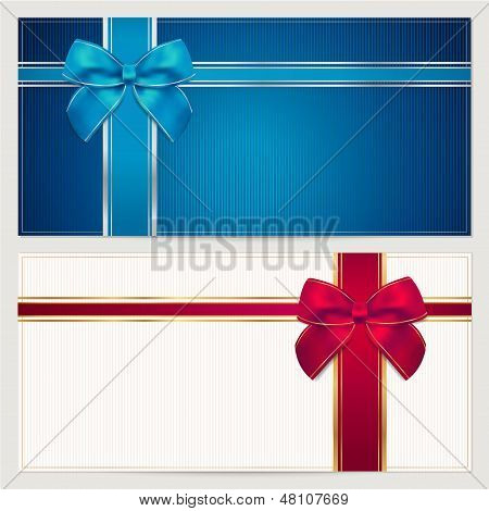 Gift Voucher / coupon template with blue and red bow (ribbons)