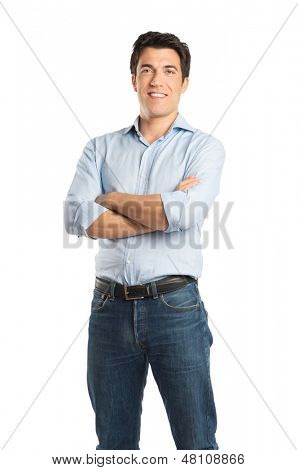 Happy Young Man With Arm Crossed Isolated On White Background
