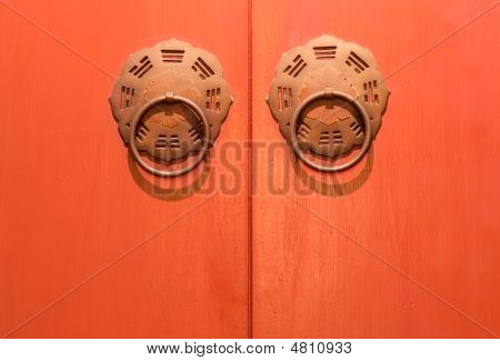 Traditional Chinese Door In Orange And Golden Color.
