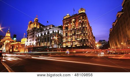 Shanghai Bund European-style Buildings Buildings Landscape Lighting