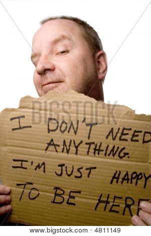 Content Homeless Man